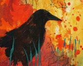 Autumn Becomes You print with crow in fall colors