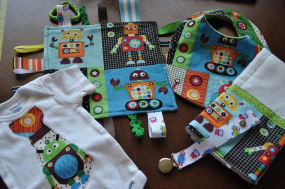 Cubed Robots Infant gift set 0-3 month onsie, lovee,bib,.burp cloth and pacifier clip