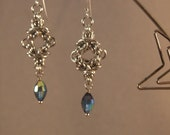 Byzantine Chainmaille Earrings with Vintage Swarovski Crystal