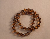 Pair of Tortoise Shell Glass Bead Stretchy Bracelets 7.5""