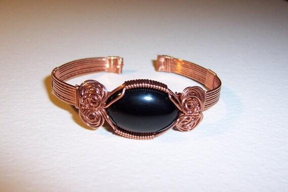 Black Onyx Copper Cuff Bracelet