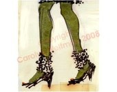 Hand Decorated Shoe Illustration - Stepping Out With My Baby