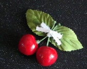 Cherry Hairclip . Retro Rockabilly Pinup Barrette with Juicy Red Cherries & Cream Bow