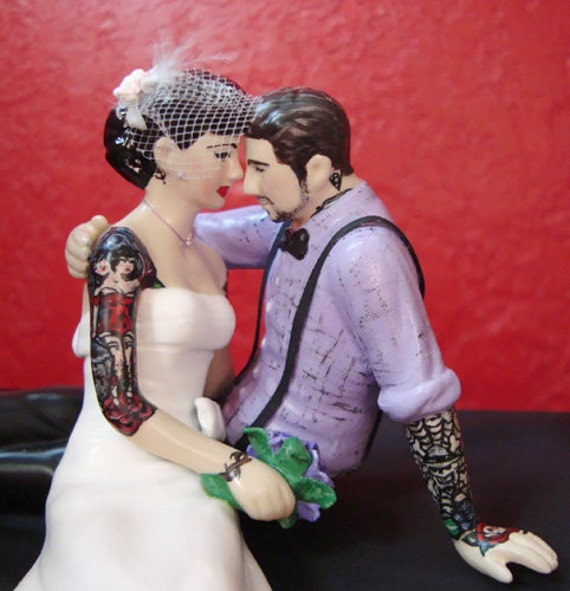 tattooed bride wedding cake toppers tattooed wedding cake topper and groom by 20756