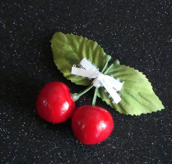 Cherry Hairclip . Retro Rockabilly Pinup Barrette with Juicy Red Cherries & White Bow