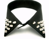 Silver Studded Black Detachable Collar