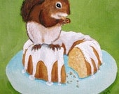 Squirrel on a Bundt Cake Original Painting Art kitschy