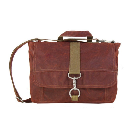 SALE: Kimball Satchel in Rust Red Waxed Canvas