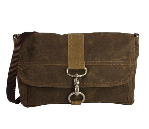 Lucy Clutch or Purse Brown Waxed Canvas