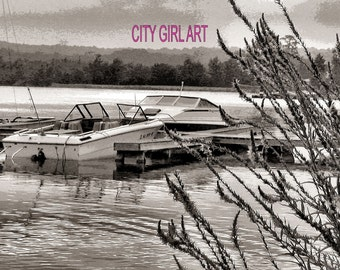 Boats at Dock in Sepia 3