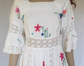 Vintage 60s 70s  Embroidered Lace Mexican Wedding Dress. X small