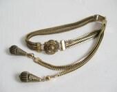 RESERVED......Vintage LISNER Gold Tone Mesh Dangle Choker Necklace