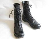Vintage Black Leather  Paratrooper Jump COMBAT BOOTS. Size 10  Mens