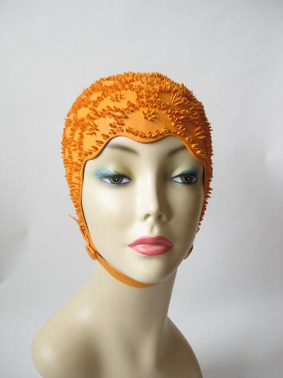 Vintage 50s Orange Swim Cap