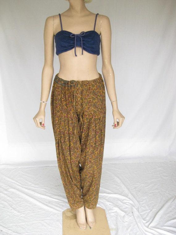 Vintage 60s 70s INDIA Print Ethnic HAREM Pants