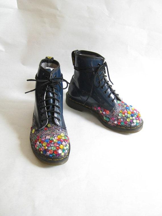Vintage DOC MARTEN Bedazzled  Combat Boots. Size 8