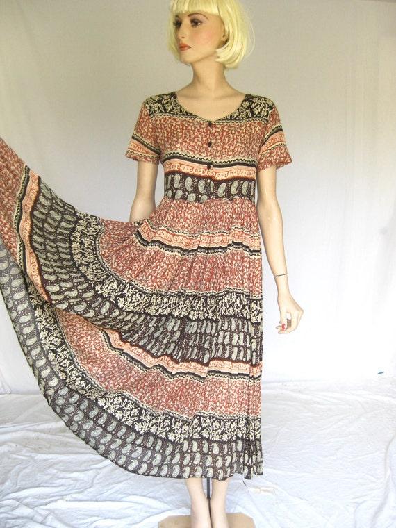 Vintage 1970s India Gauze   Sheer Hippie   Maxi Dress