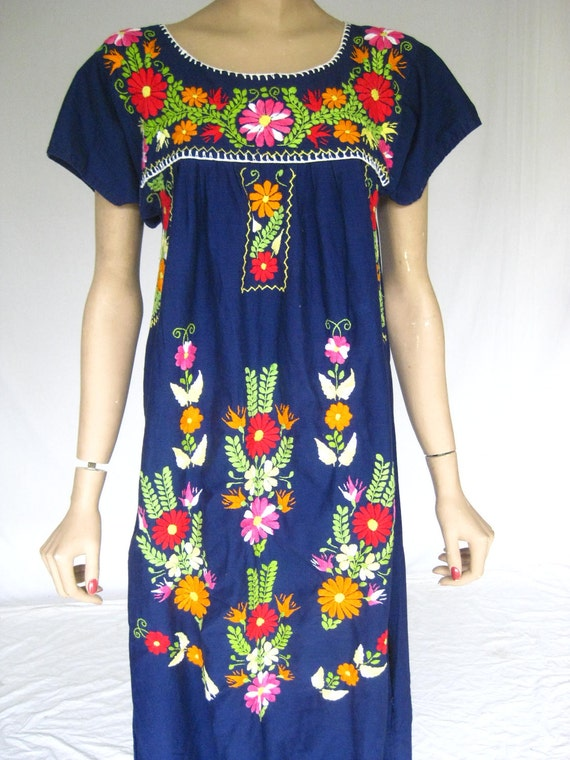 Vintage 70s Mexican Embroidered Maxi Dress