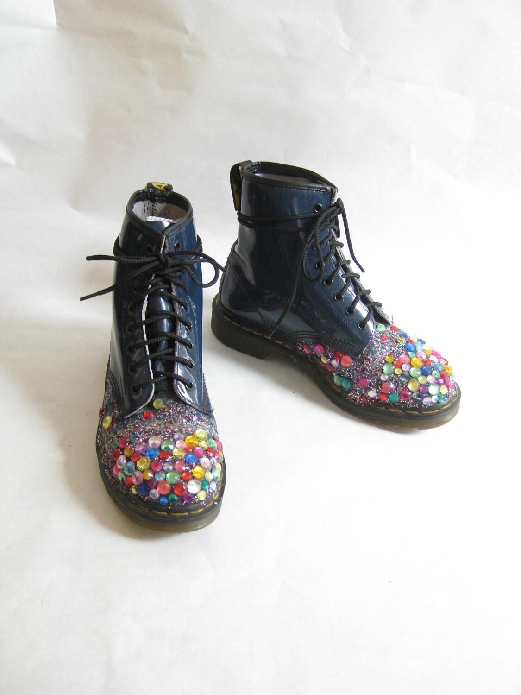 vintage doc marten bedazzled combat boots size 8