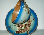 Hand Painted Beteson China J.B Dragon Cup and Saucer