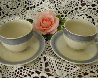 Tea Cup and Saucers Hutschenreuther Selb   Blue and Silver