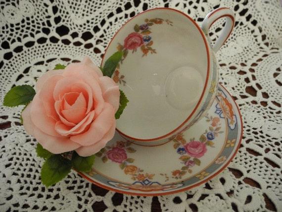 Four Vintage Tea Cups and Saucers  Porcelain   MZ Austria