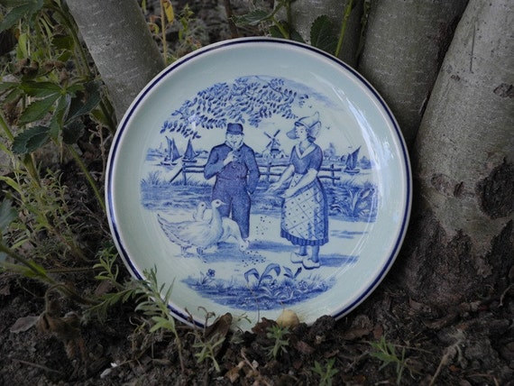 Plate blue decorative boch belgium delfts by madilyns on etsy