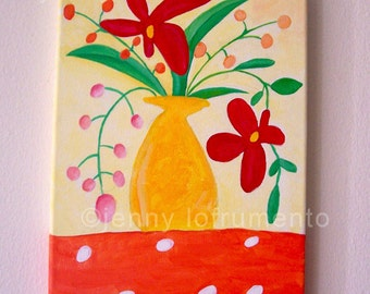 "Summer Bouquet Acrylic Painting on Canvas 8"" Wide x 10"""