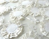 Paper DoilyGarland Elegant White Lace Lovelies Wedding And Shower 10 Feet Long With Flower Accents