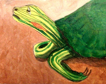 Tiffany Turtle-ACEO-matted,ready to frame original with certificate