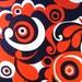 Vintage Red White Blue Swirl Fabric