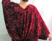 Ruby Red Kimono Wrap - Evening Cocoon - 1930s Style Glamour in Devore Velvet