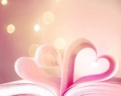 Heart Valentine - love, pink heart, hearts, valentine's day, book, pages - Premade Etsy banner and avatar set