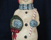 "Paper Mache 13"" Snowman w/Wreath and candy cane"