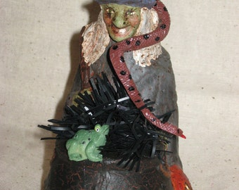 Paper Mache Halloween Witch w/Pot