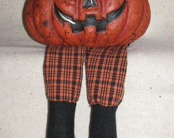 Paper Mache Pumpkin w/Plaid Cloth lets
