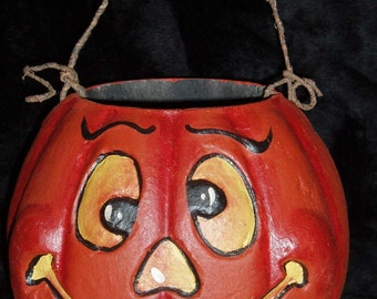 Paper Mache 7 in. Google Eyed Pumpkin Basket