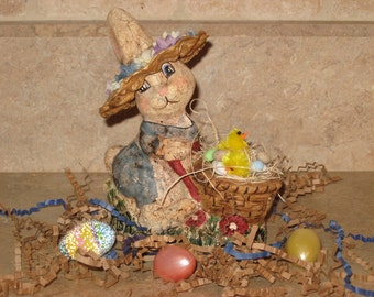 Paper Mache Bunny w/Carriage