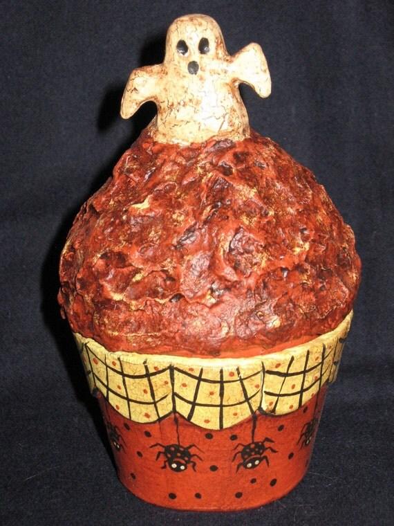 Paper Mache Halloween Cupcake Ghost Candy Holder