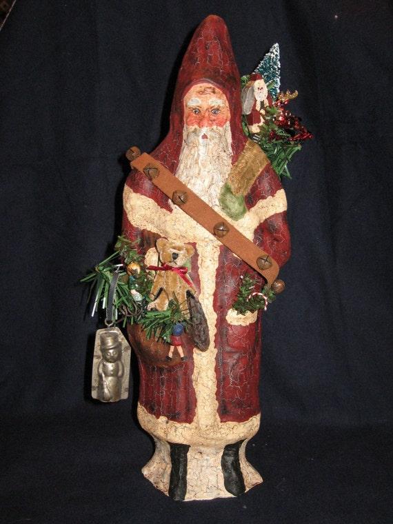 Paper Mache 13in. Bellsnickle Santa w\/Rusty Bells