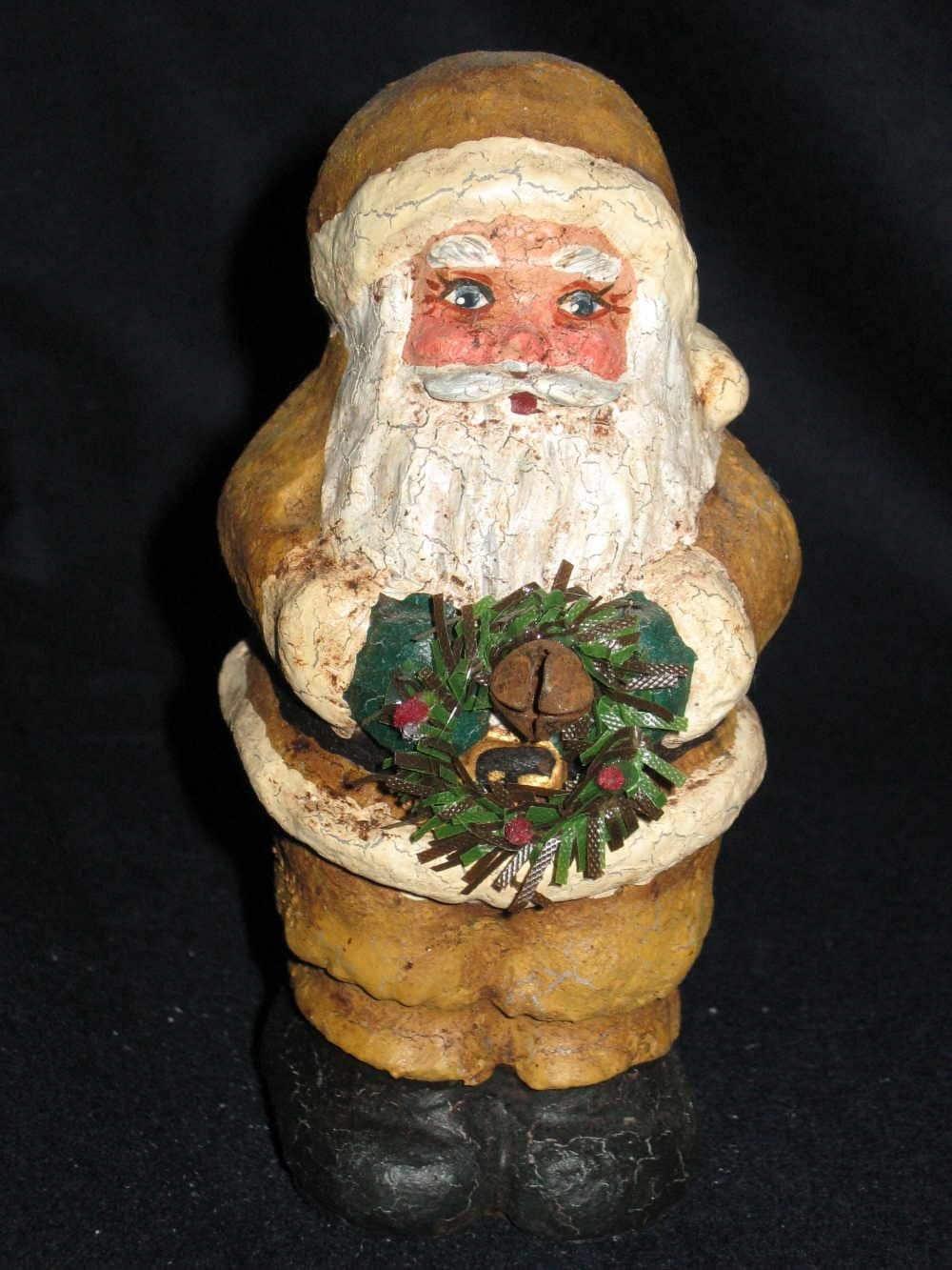 Paper mache Mustard Santa w/ Wreath