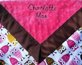 Dark Pink Minky/Pink, Brown, and Mango Owls Satin Baby Blankie