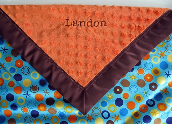 Orange Minky/Cirlce Ole Topaz Satin Baby Blanket