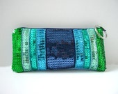 Zippered Case, Wallet, Card Case - Canvas and Sequins - Seaside Blue and Green Stripes