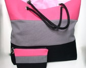 Beach Bag, Large Canvas Tote Bag -  Bold Color Block Stripes Black, Gray and Hot Pink. (On SALE, last one)