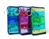 Zippered Pouch, Gadget Case, Bright Make Up Bag for Women, Teens and Girls, Colorful, Sparkly Sequins and Canvas
