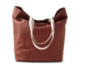 Linen Tote Bag, Beach Bag - Copper/Sienna with Natural Leather Handles