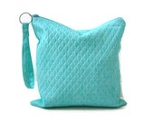 Utility Pouch, Water resistant bag, Aqua / Turquoise, Make Up Bag for Women, Beach Accessories, Summer Bag, Zippered Pouch