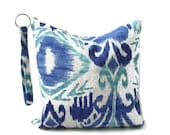 Zippered Travel Bag, Water Resistant Pouch, Wet Bag, Dry Bag, Blue Ikat, Re-usable snack bag, Women, Utility pouch