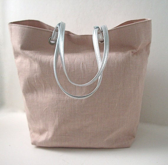 Tote Bag, Beach Bag - Blush Linen with Metallic Silver Leather Handles